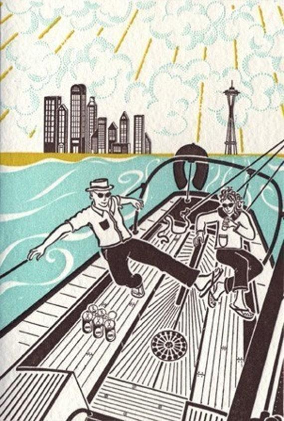 Sailing in Seattle Letterpress Print