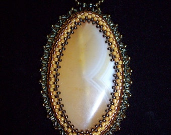 Gold Banded Agate Pendant