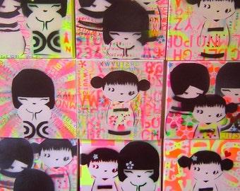 kawaii kokeshi graffiti painting
