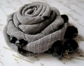 Chic Rose Brooch -Fabric Flower with glass beads