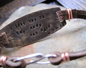 Mens Secret Message Bracelet- CUSTOM Message Inside and Out- Personalized Bracelet