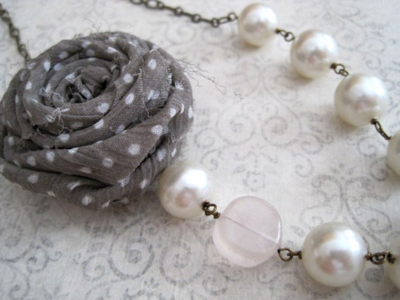 Polka-Dot Rose -Statement Necklace- Fabric Flower with Rose Quartz and Vintage Faux Pearls on Antiqued Bronze