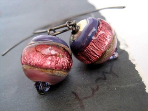 Purple Drops -Lampwork Glass on Oxidized Sterling Silver Earrings
