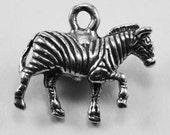 2 x Small Zebra charm or pendant Australian Pewter 1 bail