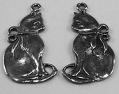 Pair Short Cats pendants or charms 1 bail each Australian pewter AF056