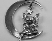 Fairy On Moon with butterfly wings & Hanging Star pendant 1 hole Australian Pewter f67