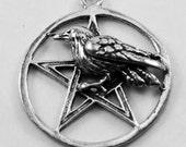 10 x  Raven or crow on Pentagram Australian Pewter R359