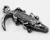 Tiny Crocodile charm or pendant 1 bail Australian Pewter