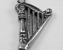 2 x Small Harp pendant or charm 1 bail Australian Pewter