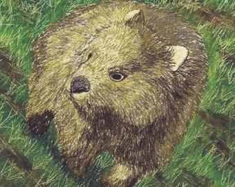 Australian Wombat fabric Panel