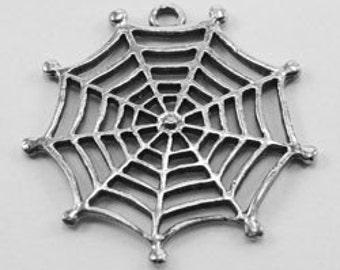 2 x Spider Web /  cob web pendant  pewter made in Australia