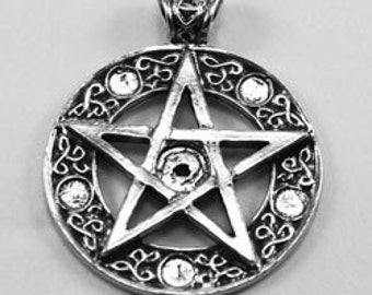 Decorative Pentagram celtic knot  1 bail and  6 crystal cavities Australian Pewter R327