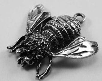 Large Bumble Bee pendant or charm 1 bail Australian pewter AF169