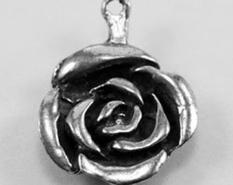 2 x Small Rose  charm or pendant 1 bail Australian Pewter R598