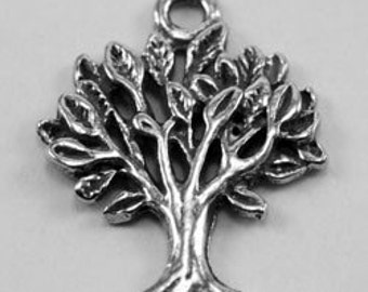 2 x Small Tree Of Life charm or pendant 1 bail Australian Pewter z650