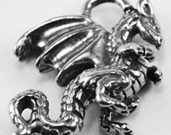2 x Small 3D Dragon pendant  1 bail Australian Pewter dr57