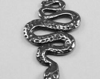 2 x Snake pendant or charm 1 bail Australian Pewter AF30