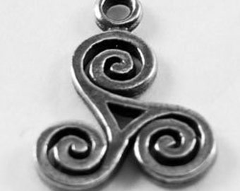 2 x Small Triskel celtic spiral 1 bail Australian Pewter