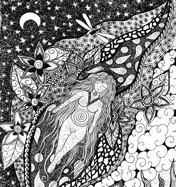 "Black and white fabric panel "" Floating"" By Cindy Watkins 41cm x41cm Goddess floating in a sea of flowers and dragonflys"