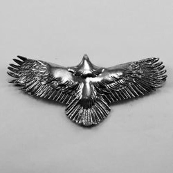 Eagle Wings Wide pendant 2 rear bails Australian Pewter B47