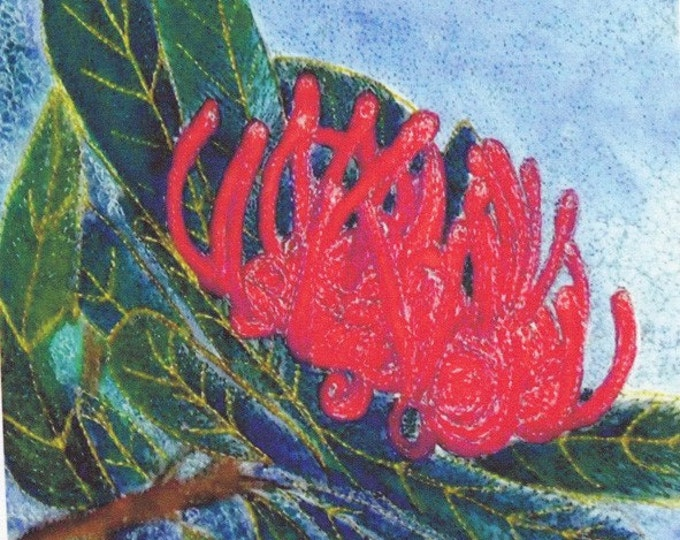 Tasmanian Waratah Fabric Panel Australian native flower