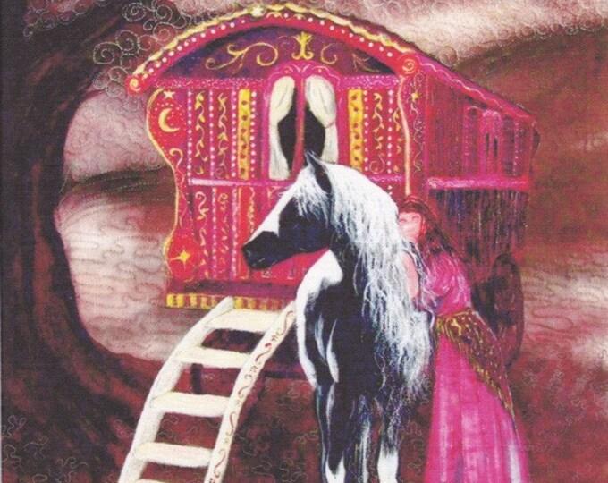 Gypsy Gold Fabric panel. Gypsy vanner horse with Gypsy woman. 27cm x 31cm