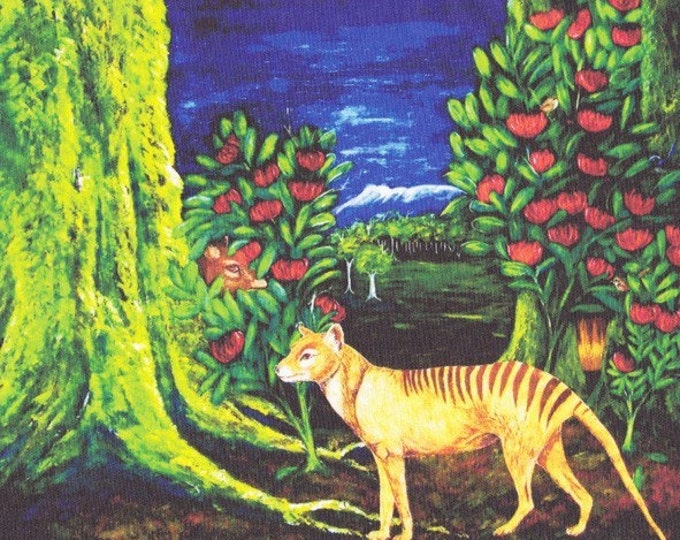Tasmanian Tiger or Thylacine fabric panel