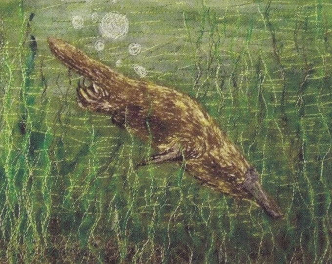 Australian animal fabric panel platypus for quilting or sewing