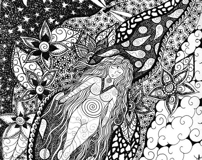 """Black and white fabric panel """" Floating"""" By Cindy Watkins 41cm x41cm Goddess floating in a sea of flowers and dragonflys"""