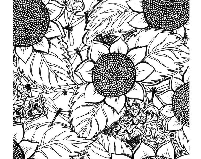 "Black and White Fabric Panel 100% Cotton "" Sunflowers and Dragonflys "" By Cindy Watkins 40cm x 40cm"