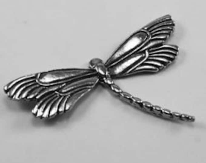 Double Winged Dragonfly  no bail Pewter made in Australia af420