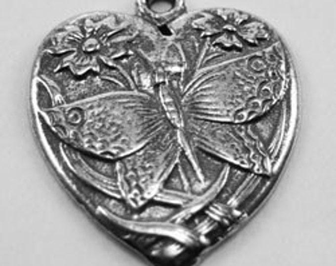 Butterfly Patterned Heart pendant or charm 1 bail Australian Pewter H19