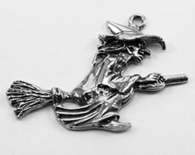 Witch On Broomstick pendant 1 bail Australian Pewter z558