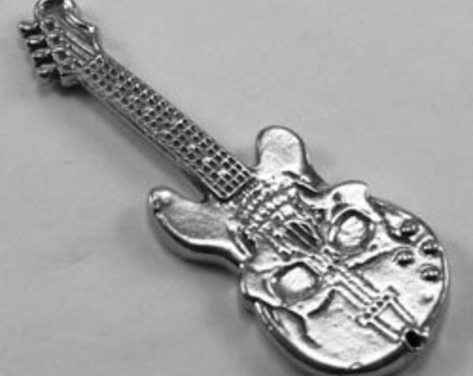 Skull Guitar pendant  1 hole Australian Pewter