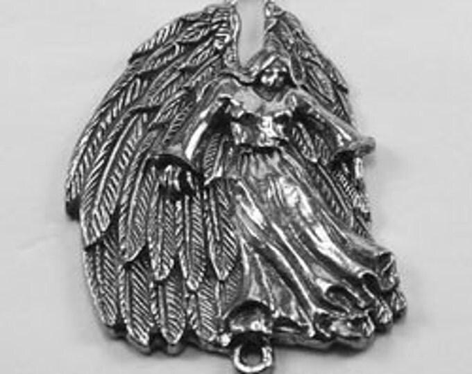 Large Feather Angel pendant 2 bails. Beautifully detailed Australian pewter