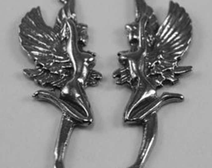 Pair Flying Nudes with wings  P019 makes great earrings 1 bail each Australian made pewter