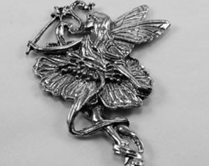 Fairy with flower dress  butterfly wings and magic star wand (F28) no bail  Australian Pewter