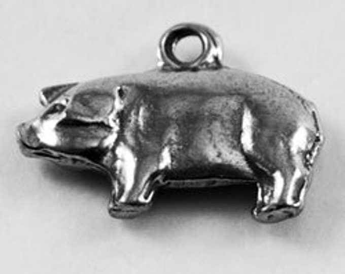 2 x Small Pig charm or pendant 1 bail Australian Pewter AF552