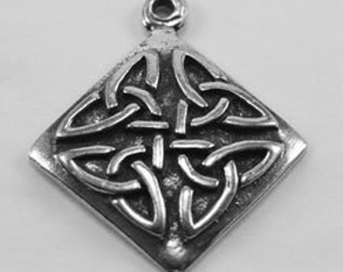 10 x Celtic Square pendant or charm  1 Bail Australian Pewter