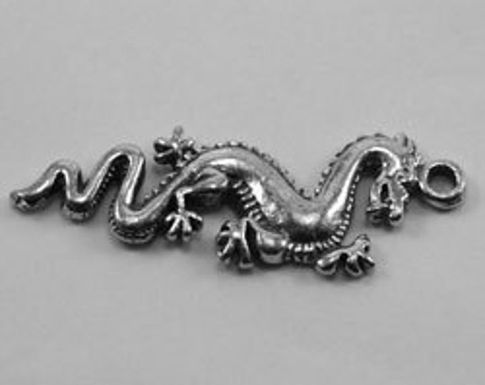 2x small Dragon pendant or charm   1 bail Australian Pewter DR73