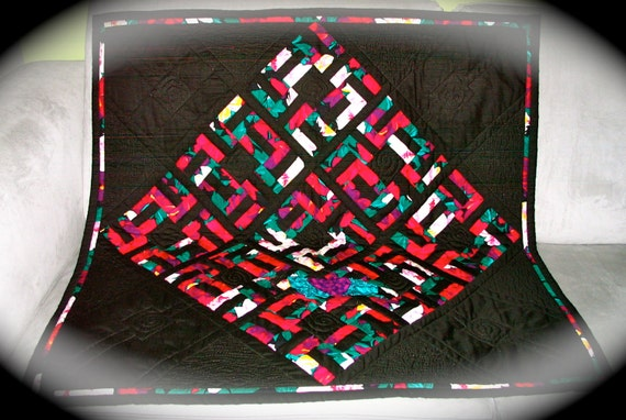 "SALE Hug Quilt ""Intertwined Beauty Buried in the Heart"" w/ sleeve REVERSIBLE"