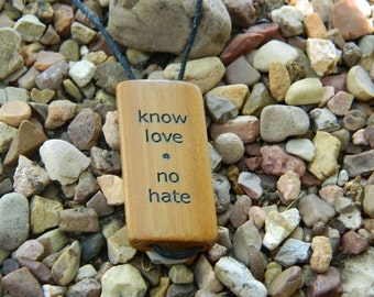 know love - Engraved Bamboo Pendant
