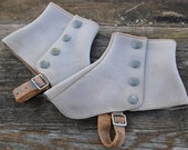 Vintage Weathered Gray Felt Spats with Snaps Steampunk
