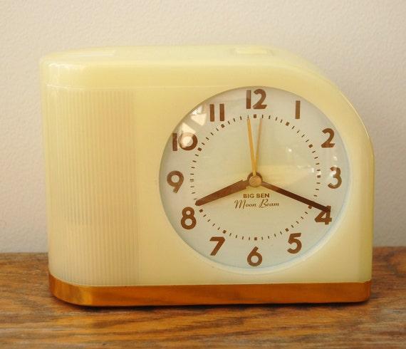 Art Deco Big Ben Moon Beam Light Up Alarm Clock