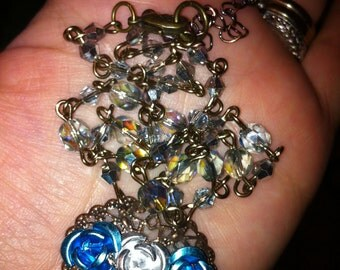 Silver and Blue Aluminum flower necklace with hand wrapped czech bead chain