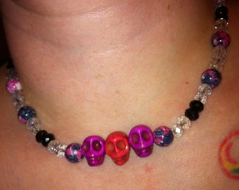 Pink Skull necklace with Rain Forest beads and Crystal Rondelles