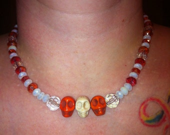 Skull Necklace in orange white and alabaster ab