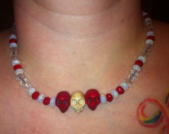 Skully Necklace in Red Clear ab and Alabaster ab