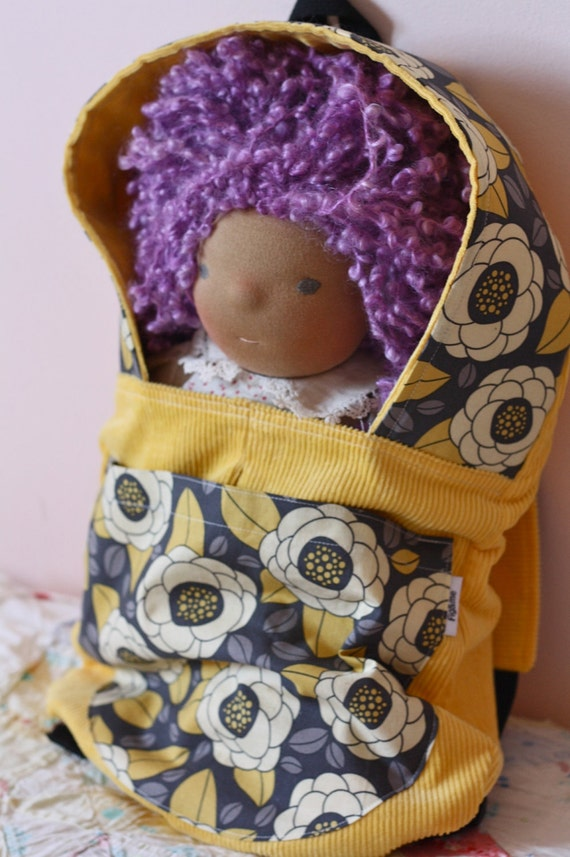 Fig&Me Papoose, Yellow with Grey Flowers