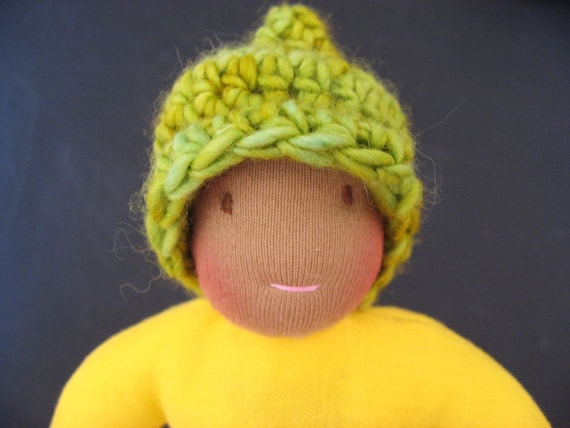 MiniFig Yellow Linen Sprout, Waldorf Inspired Natural Doll